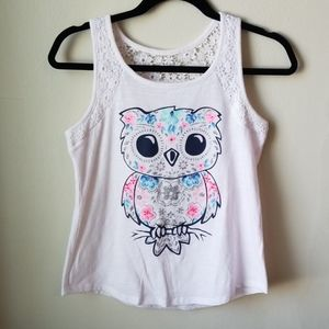 Justice glitter owl tank, NWOT, girls 16
